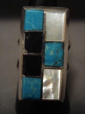 IMPORTANT-VINTAGE-NAVAJO-KIRK-SMITH-D-INLAY-TURQUOISE-SILVER-RING-OLD