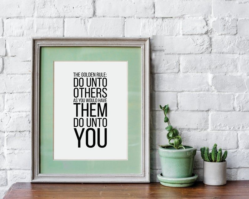 Golden Rule Wall Art Digital Download Bible Quote Print Matthew 7 12 Do Unto Others Nursery Decor Black And White Nursery In 2020 Heart Wall Art Quote Prints Heart Wall