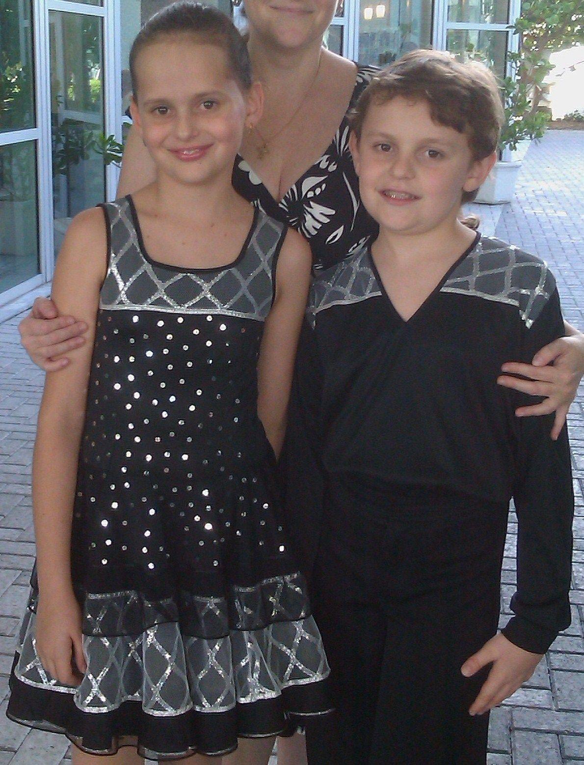 a79b9ab32 Girl Custom Pre Owned Ballroom Latin Dance Dress Matching Boys Shirt 10 Yrs  | eBay