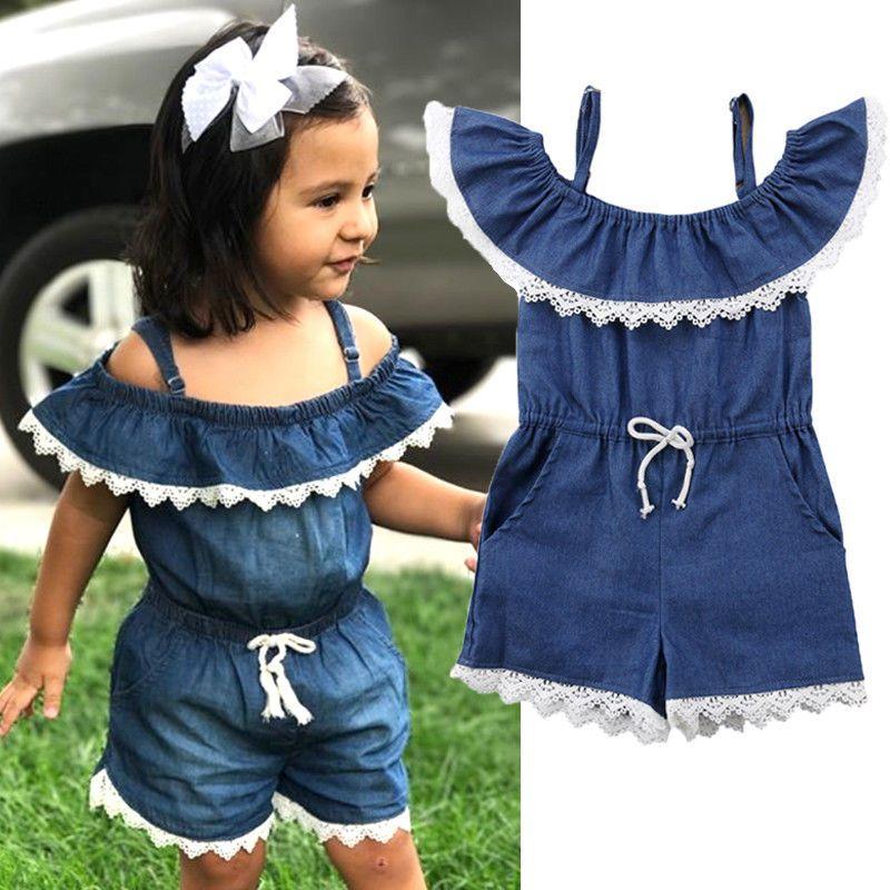 21c7a3c53 Lace Denim Kids Baby Girl Off Shoulder Romper Jumpsuit Outfits Clothes  Summer US #Divawear