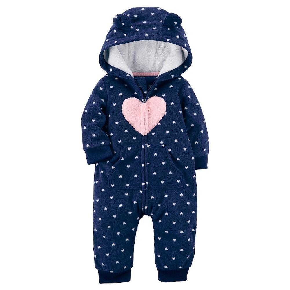 9db7a8d10 Baby Girl Carter s Heart Fleece Hooded Jumpsuit