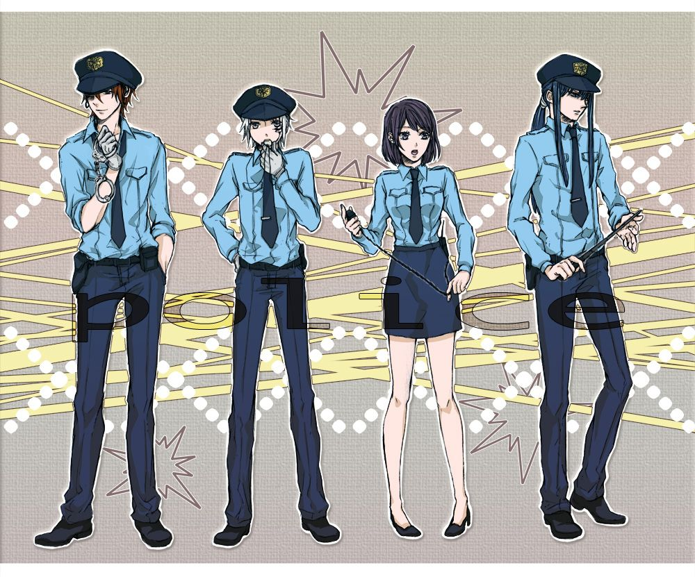 Lenalee Lee, Lavi, Yuu Kanda, and Allen Walker as police