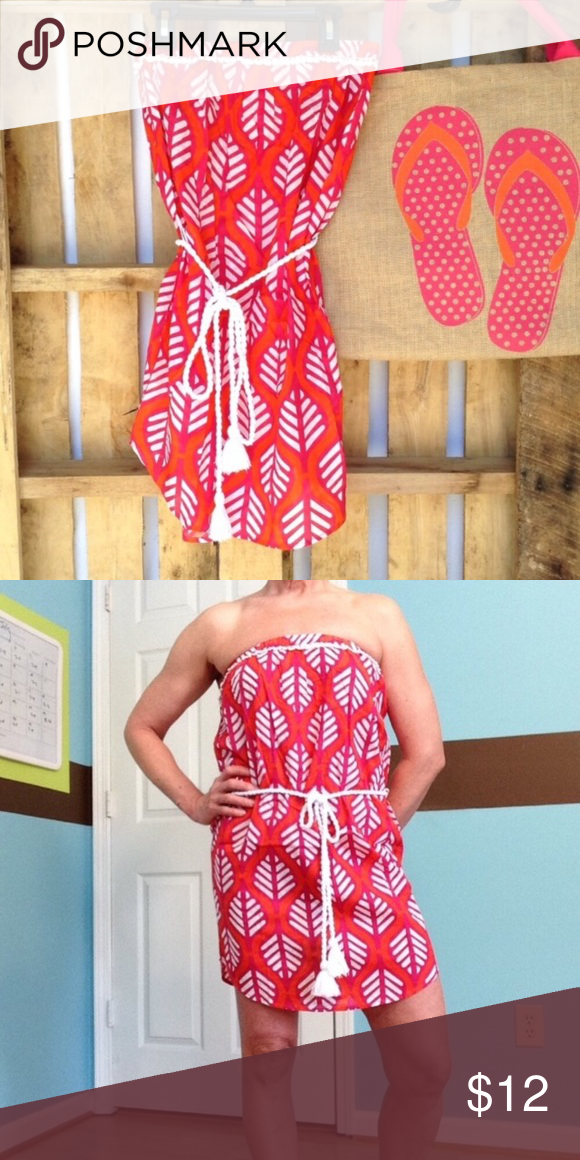 Mud Pie Leaf Print Strapless Dress Swimsuit Cover Nwt Swimsuit