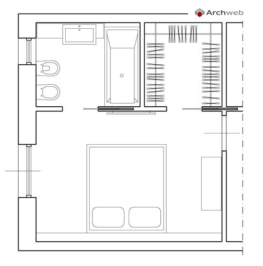 camera da letto con cabina armadio e bagno cabina
