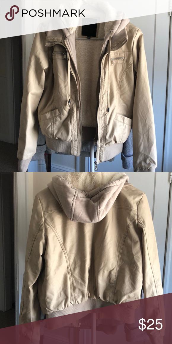 Cream leather jacket Cream leather jacket with polyester