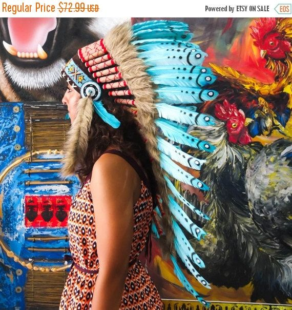 Blue Chief Replica Indian Headdress Inspired Warbonnet Hat Feather Handmade