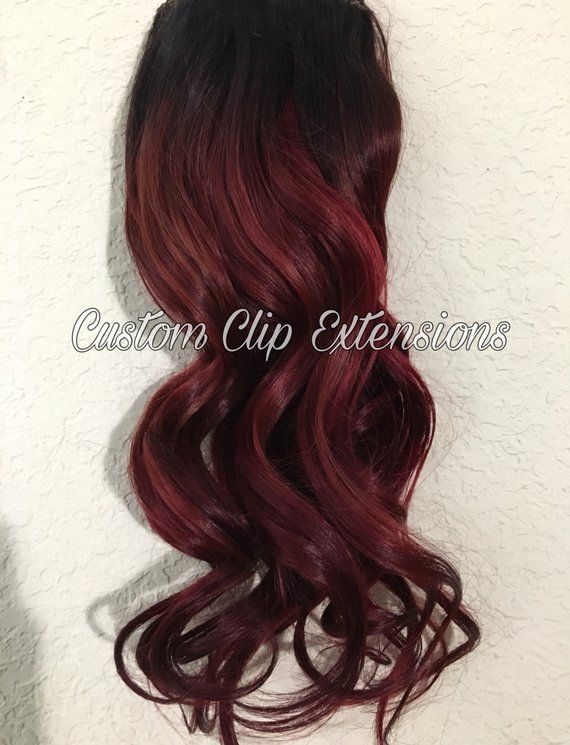 Dark Red Clip In Hair Extensions Human Hair Extensions