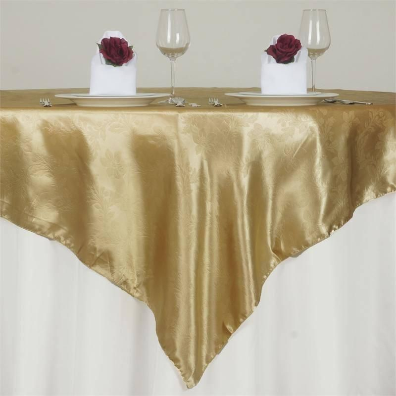 72 X 72 Champagne Adoringly Adorned Satin Lily Overlay In 2021 50th Anniversary Table Decorations Wedding Table Overlays Sweetheart Table Backdrop
