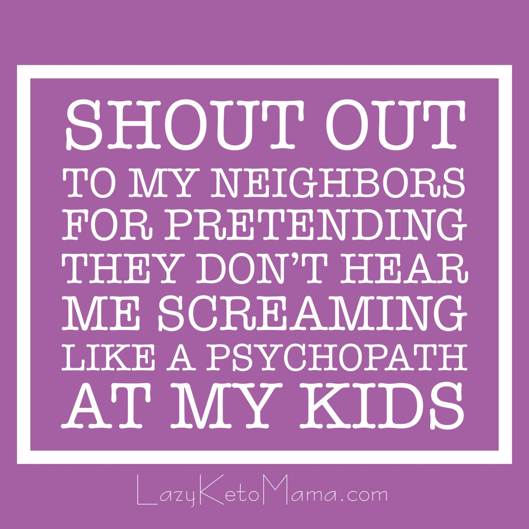 Shout Out To My Neighbors For Pretending They Don T Hear Me Screaming Like A Pyschopath At My Kids Quotes Quoteoftheday Funny Quotes Quotes Neighbor Quotes