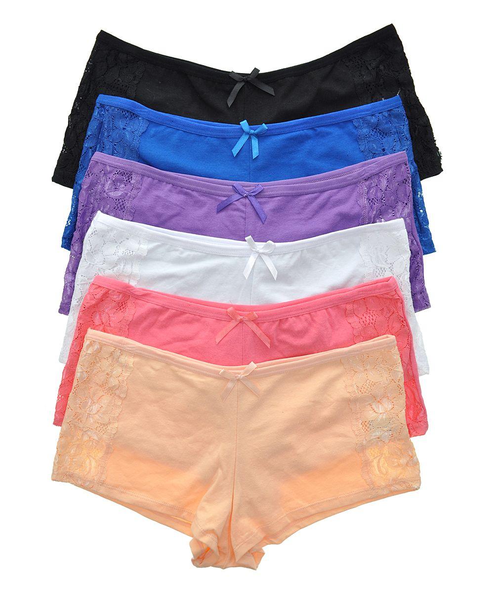 22fce6b97795 Beige & Pink Lace-Accent Cotton Boyshorts Set | Products | Pink lace ...