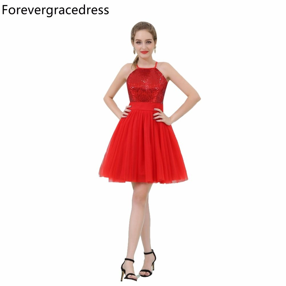 Forevergracedress Real Picture Red Sequins Cocktail Dress Fashion ...