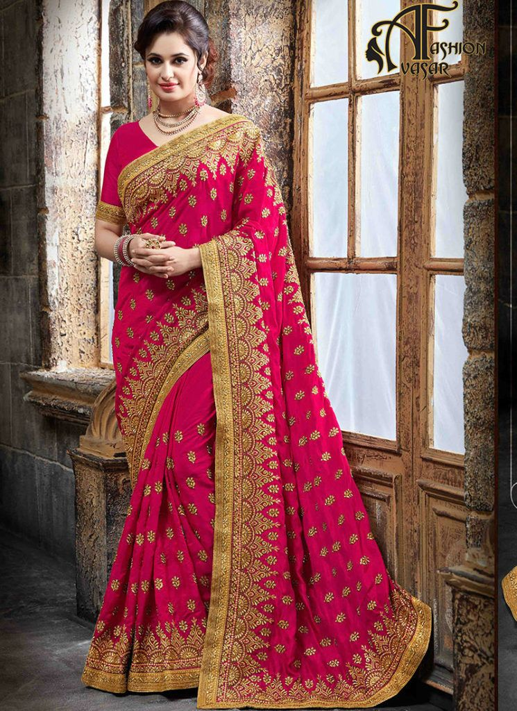 You Are Bound To Make A Strong Fashion Statement With This Hot Pink Crepe Silk Designer Traditional Saree Beautified Embroidered Patch Border And