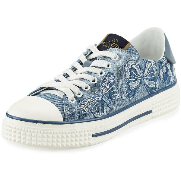Valentino Butterfly-Embroidered Denim Sneaker (9.360 NOK) ❤ liked on Polyvore featuring shoes, sneakers, scarpe, light deni, valentino sneakers, laced flats, valentino flats, valentino shoes and round toe lace up flats