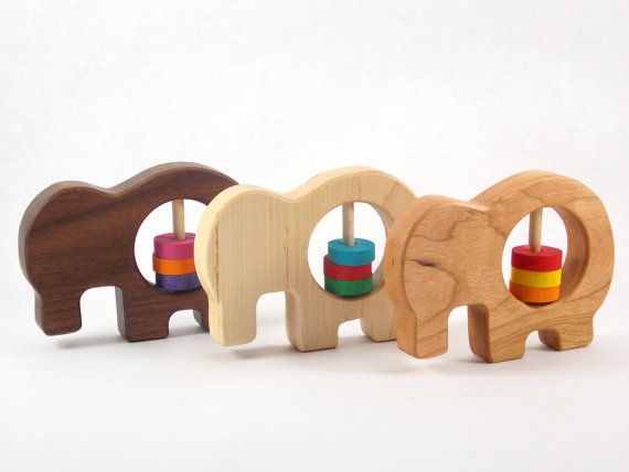 Natural Wooden Animal Baby Rattle Toy Eco Friendly Toys Wooden Ring Baby Rattles Play Montessori Wooden Baby Rattle Toy Baby Shower Gift