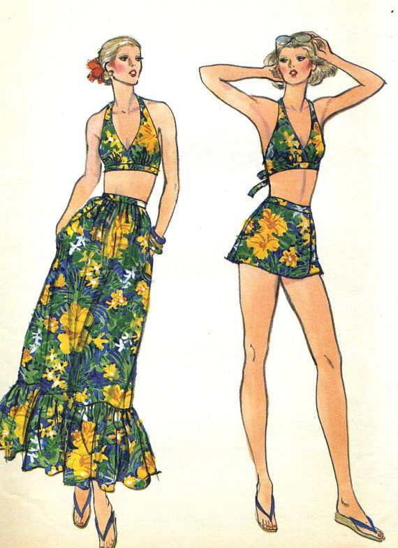 Vintage 70s Vogue 9788 UNCUT Misses Halter Swimsuit by RomasMaison ...