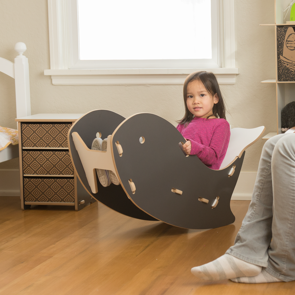 whale rocking chair  kids furniture rocking chairs and rocking  - adorable little girl rocking in a grey whale kids rocking chair by sproutkid furniture