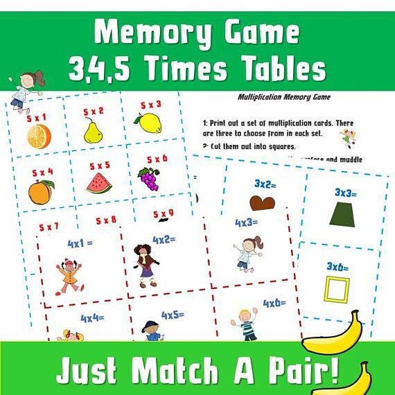 Math Memory Games Printable/ Times Tables Games ks2/ Memory ...