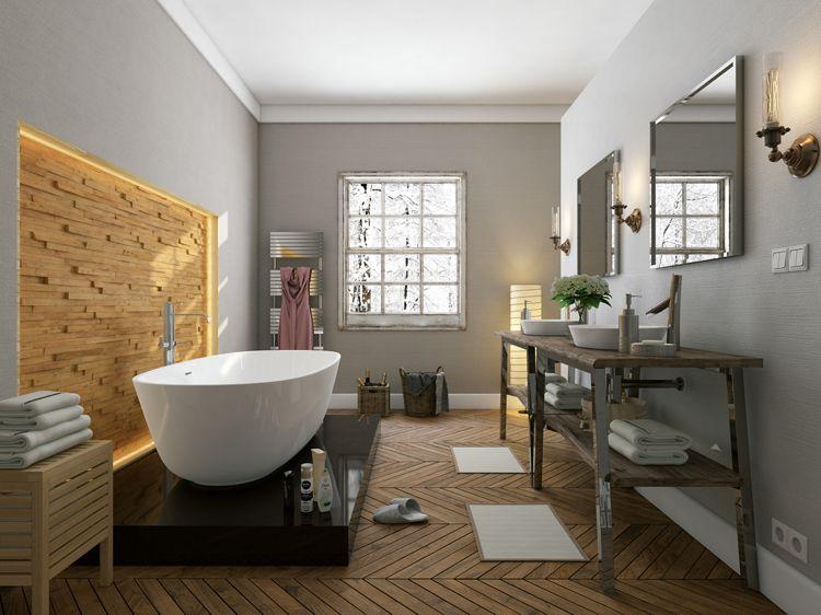 Holzpaneele An Der Wand Badezimmer Badewanne Freistehend Beleuchtung Holzpaneele Wandverkleidung Holz Holzschindeln