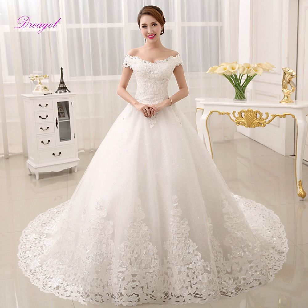 Dreagel glamorous appliques chapel train ball gown princess wedding