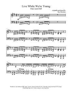 Live While We're Young - One Direction. Find more free sheet music at www.PianoBragSongs.com.