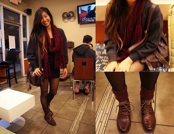 Brown Combat Boots, Maroon Socks, Sheer Polka Dot Tights, Knitted ...