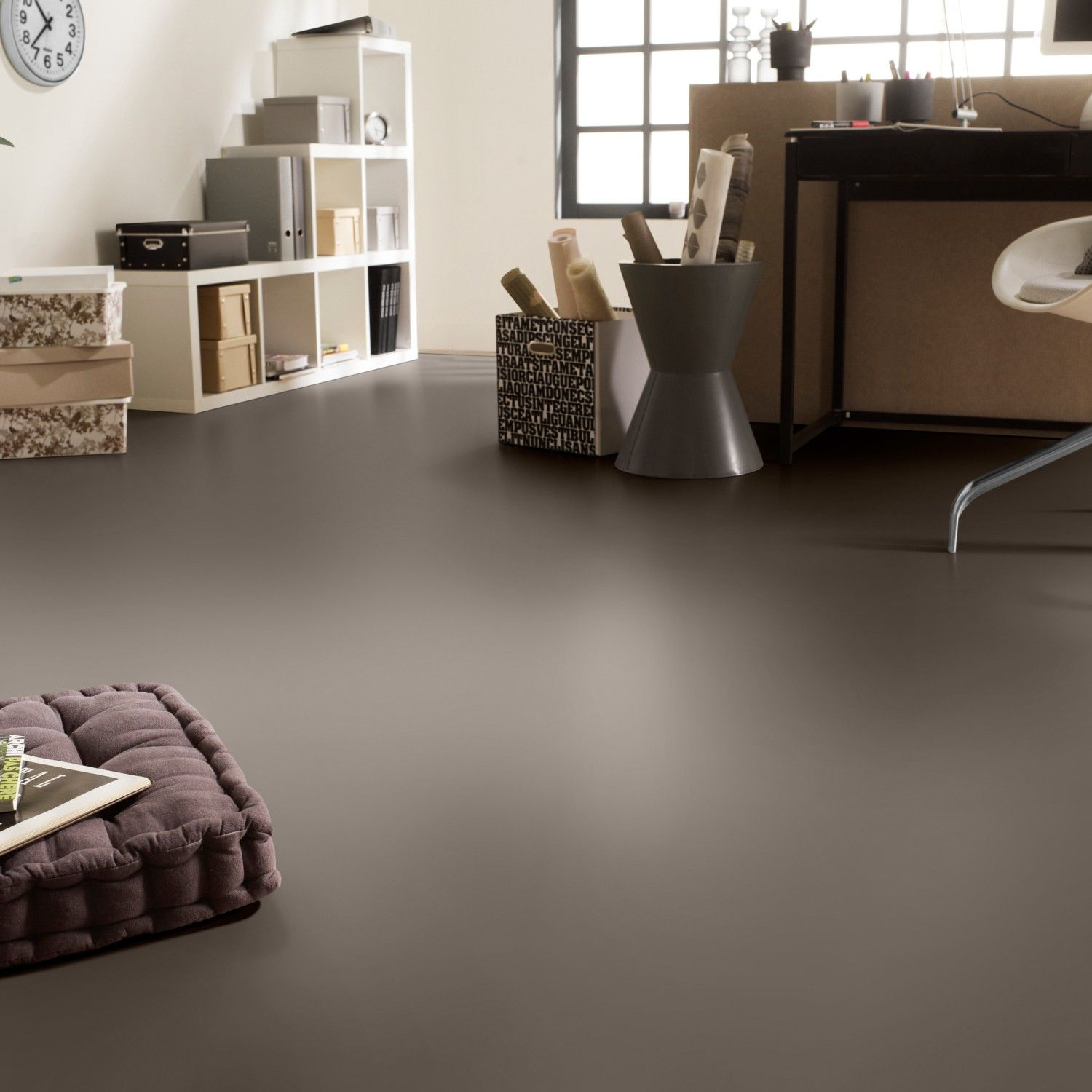 Room Rhino Style Taupe Plain Grey Vinyl Flooring