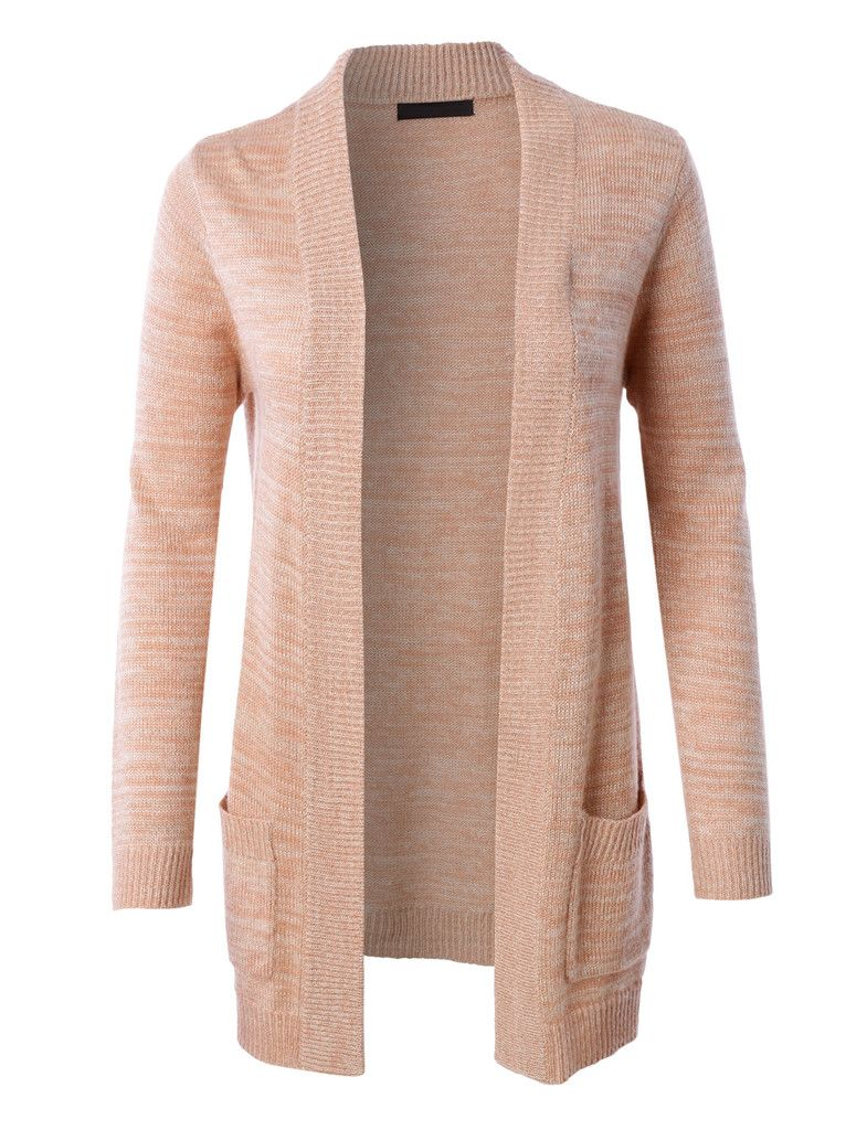 LE3NO Womens Open Front Knit Sweater Cardigan with Pockets ...