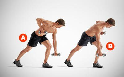 seesaw row with dumbbells