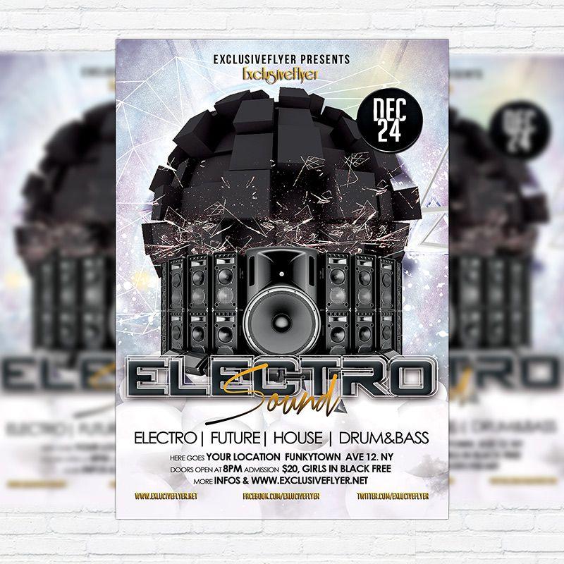 Electro Sound - Premium Flyer Template + Facebook Cover http - black flyer template