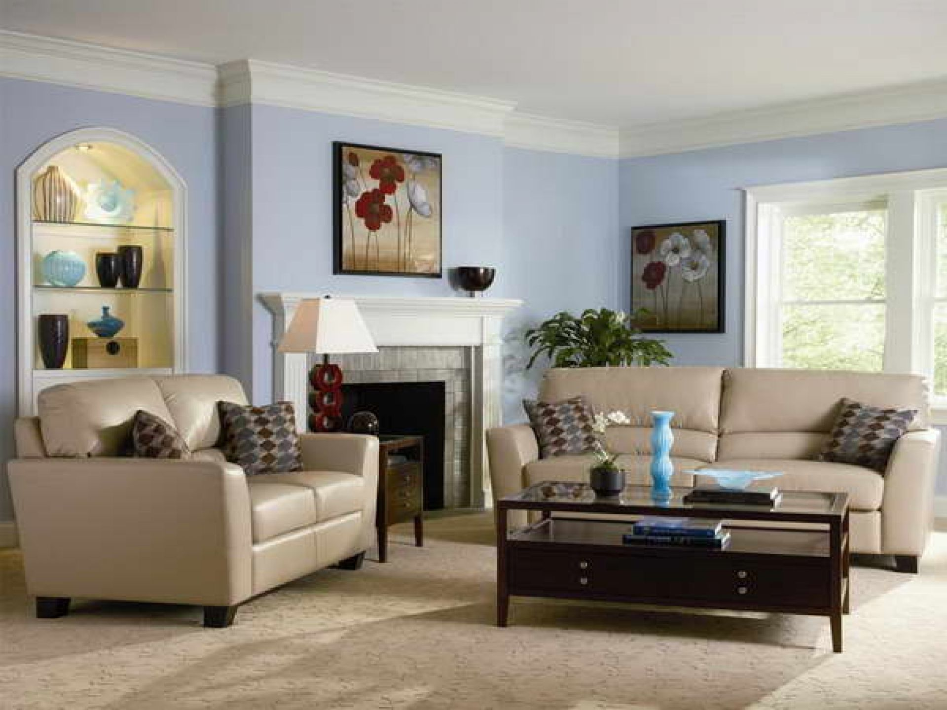 Blue and yellow living room with brown couch - Small Living Room Decorating Ideas Photos Tan Blue Blue Living