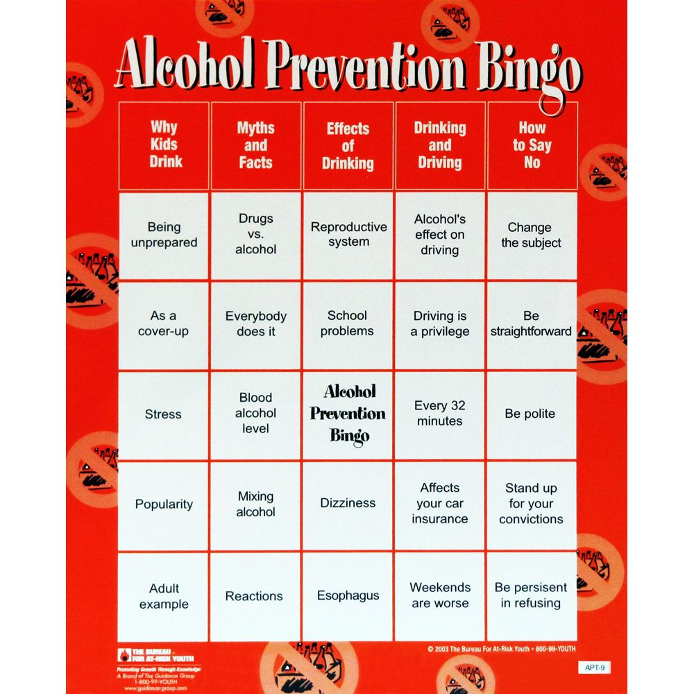 Alcohol Prevention Bingo Game | School stuff