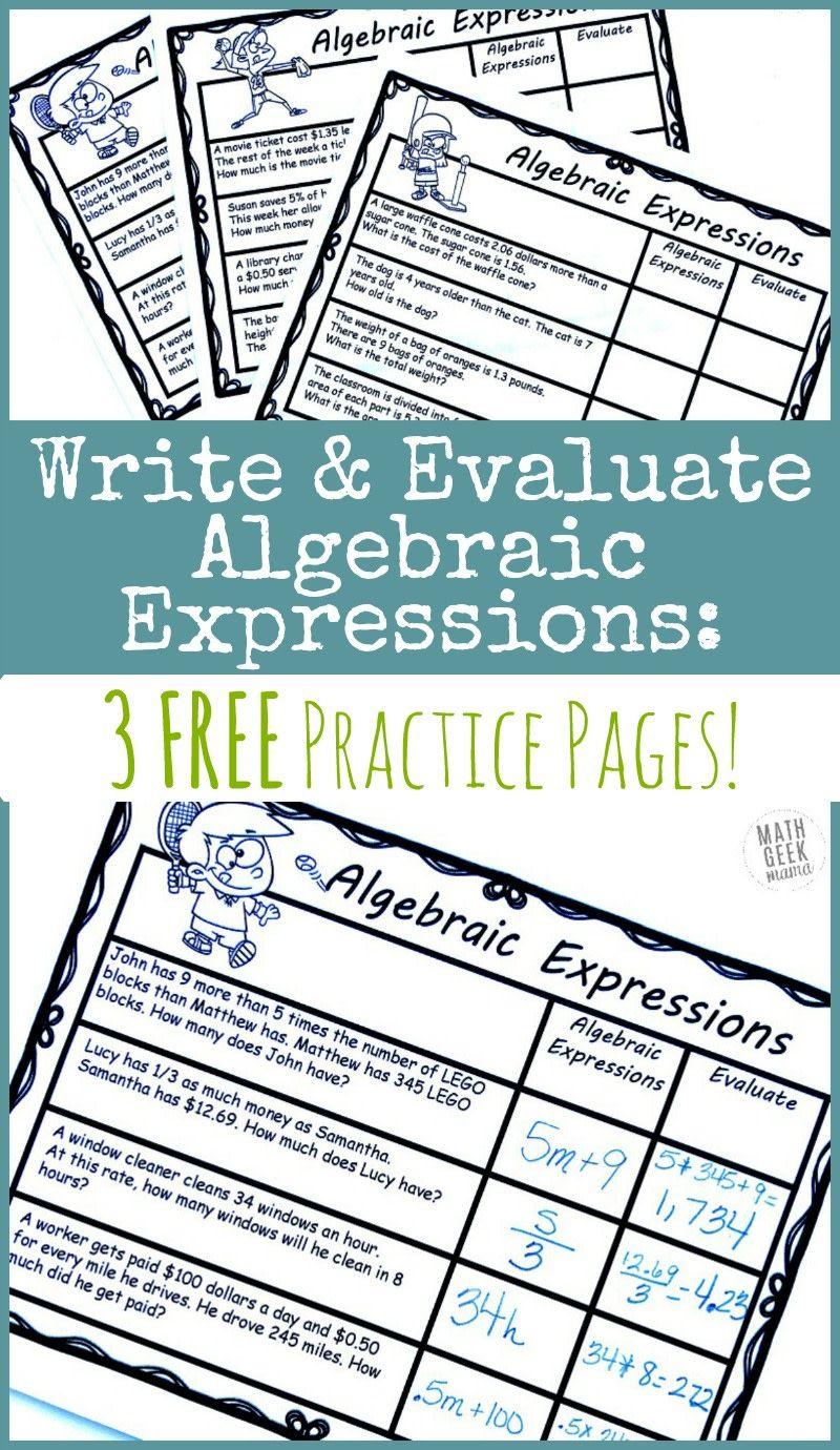 Writing Algebraic Expressions Free Practice Pages Math Geek Mama Writing Expressions Algebraic Expressions Translating Algebraic Expressions [ 1380 x 800 Pixel ]