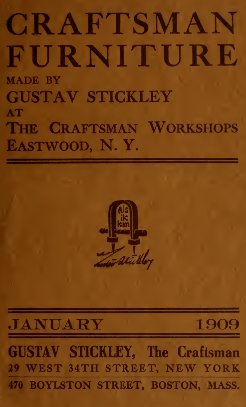 Catalogue Of Craftsman Furniture Made By Gustav Stickley At The Craftsman Workshops Eastwood N