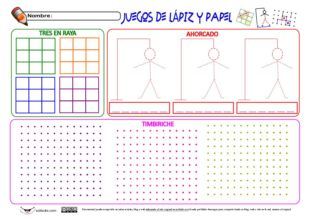 Juegos De Lapiz Y Papel 3 En Raya Ahorcado Y Timbiriche