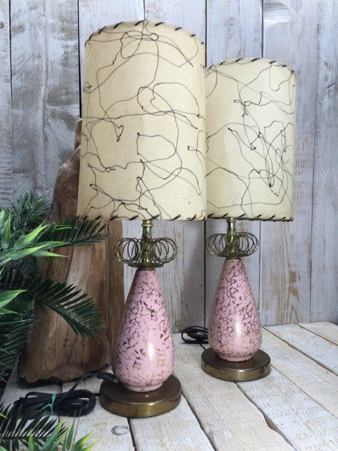 Bedside Lamps 50s Lamps Vintage Lamps 1950s Lamps Pink Lamps Bedroom Lamps Pair Of Lamps Table Lamps Art Deco La Art Deco Lamps Pink Lamp Vintage Lamps