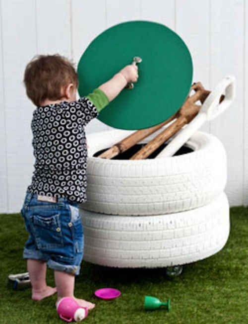 Turn old tires into creative storage.   Outdoor toy ...