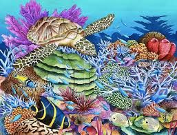 Image result for watercolour painting of sea reef