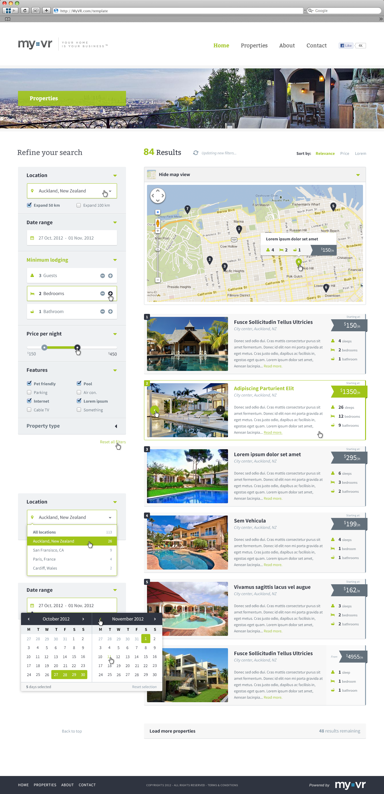 MyVR Responsive multi-property website template - Search by Sylvain ...