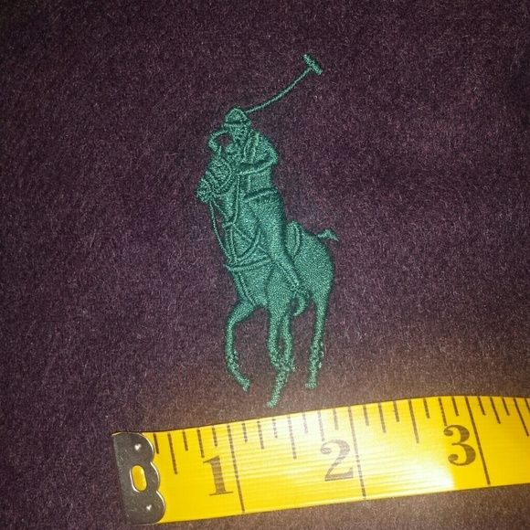 """POLO RALPH LAUREN BIG PONY WOOL SCARF MUFFLER NWT Polo Ralph Lauren 100% Lambs Wool scarf with fringe.  Plumb/brownish tweed color (600) with BIG pony embroidered in dark green.   Approximately 12"""" wide and 64"""" long. New scarf with tag, made in Italy.  I have other colors too :) Polo by Ralph Lauren Accessories Scarves & Wraps"""