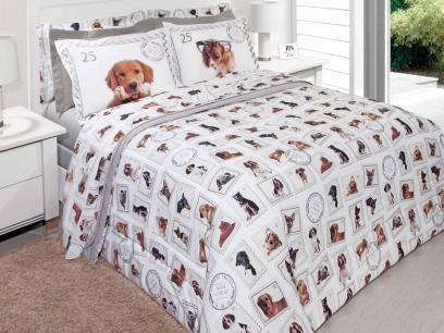 96f18e6756 Jogo de Cama   Lençol Casal Innovi New Dogs - 4 Peças 150 Fios 100% Algodão  - Kacyumara com as melhores condições você encontra no…