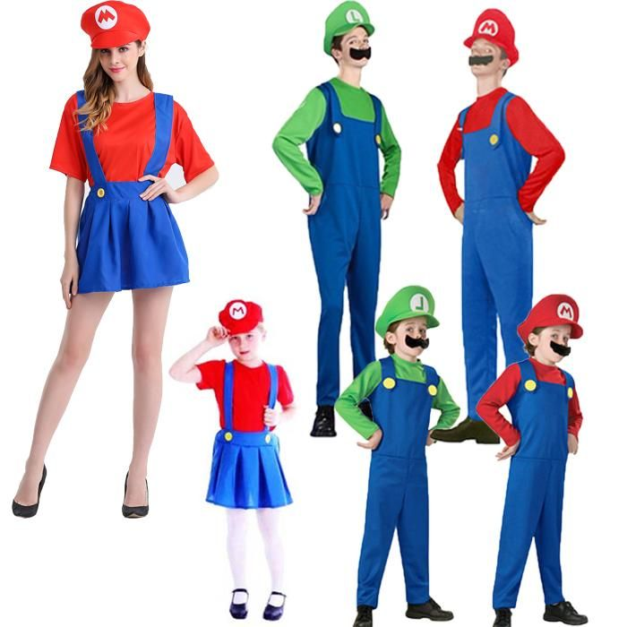 Kids Adults Super Mario Luigi Bros Fancy Dress Costume Cosplay Family Suit Hot