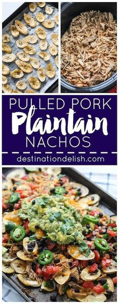 Pulled Pork Plantain Nachos | Destination Delish - a healthier nachos recipe using baked plantain wedges topped with tender pulled pork, black beans, and all your fave toppings