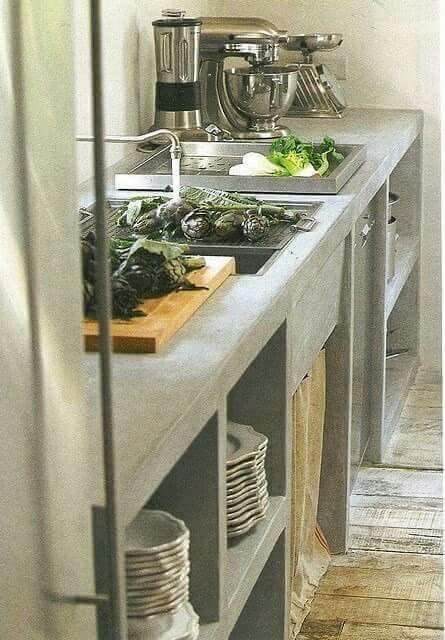 Cocina de cemento mesada material pinterest cocina for Cocinas de concreto pequenas