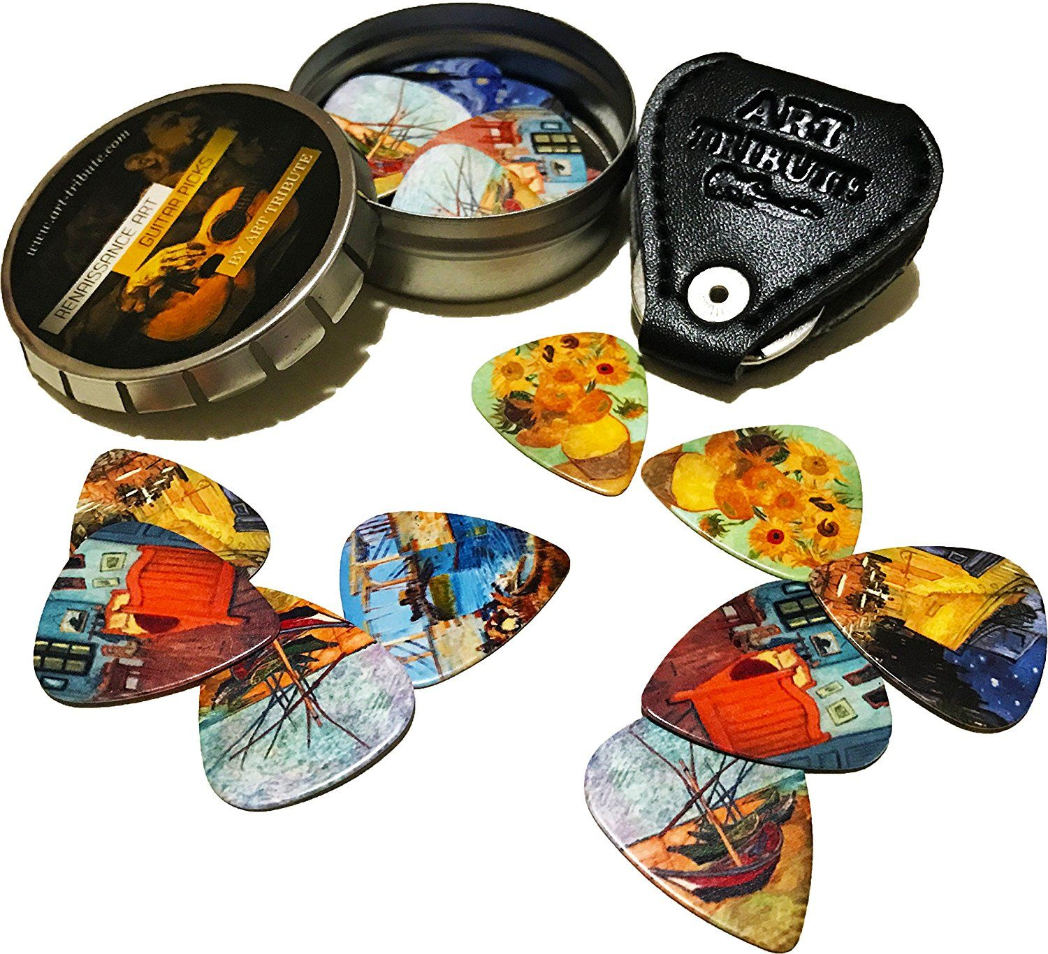 Unique Stocking Stuffer For Guitar Player Limited Time Deal Celluloid Medium 12 Pack in A Tin Box Picks Holder Vincent Van Gogh Guitar Picks Complete Gift Set For Guitarist