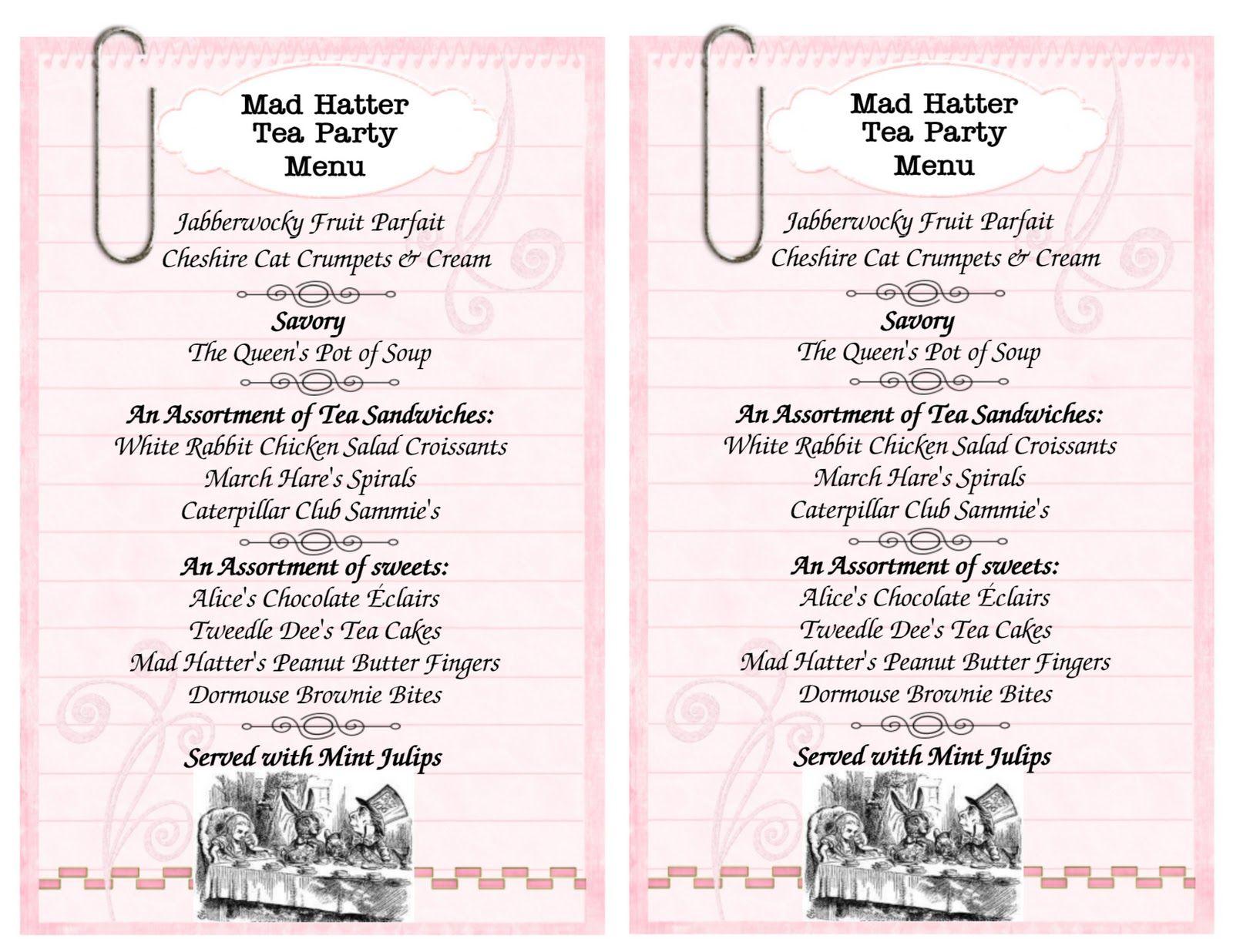 mad hatter tea party menu sample Birthday Ideas Pinterest