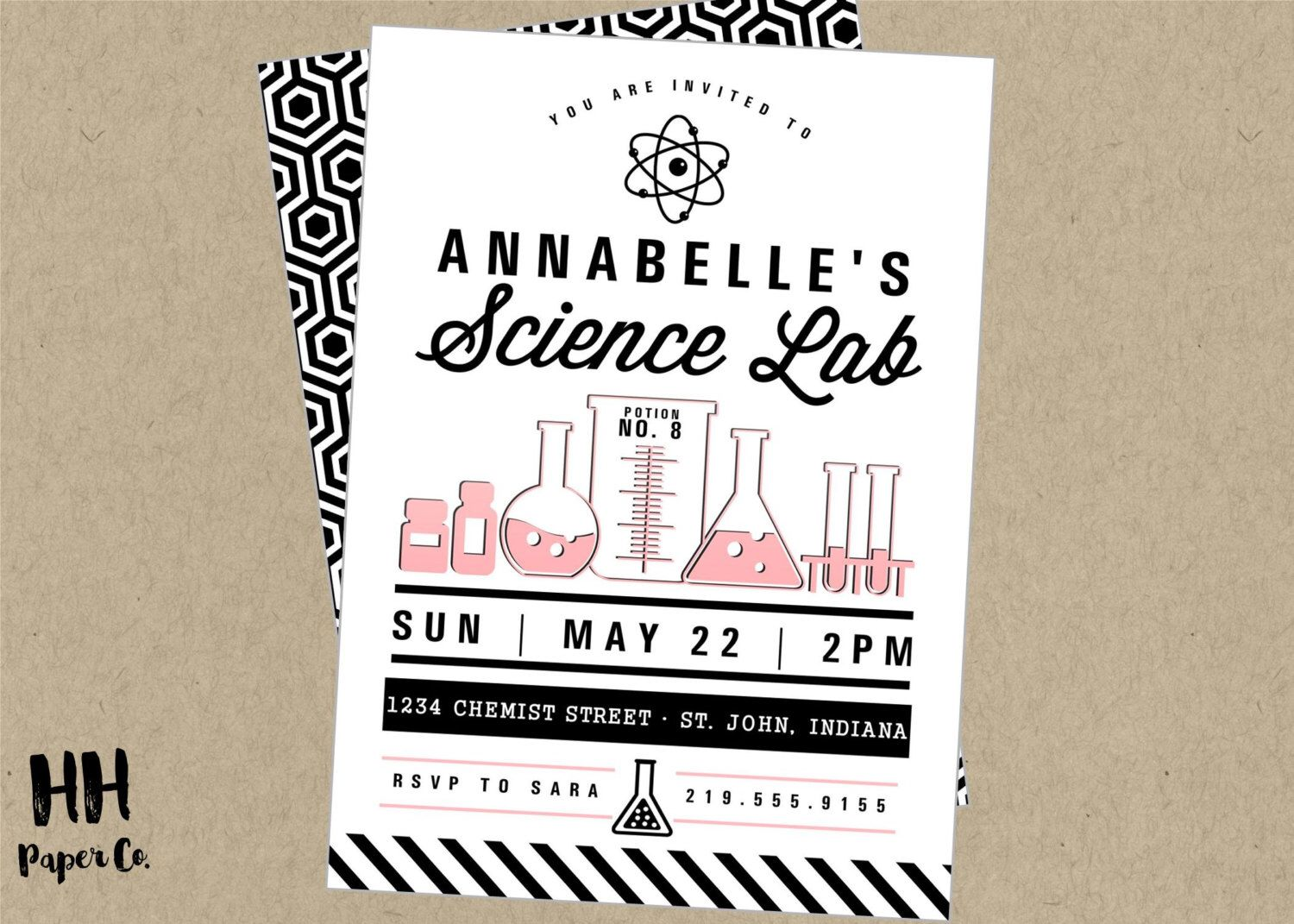 Science Party Printable Invitation- modern black white pink ...