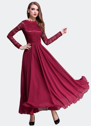 dc6c1aa6b035 Maroon Lace Chiffon Maxi Dress with V Back and Eyelash Details RM310 ...