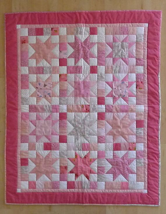 Heirloom Pink Stars Baby Quilt Girl By Chickadeeway On