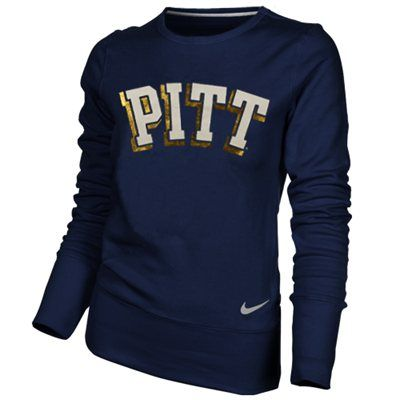 good texture wide range buy sale Nike Pittsburgh Panthers Ladies Navy Blue Excel Pullover Crew ...