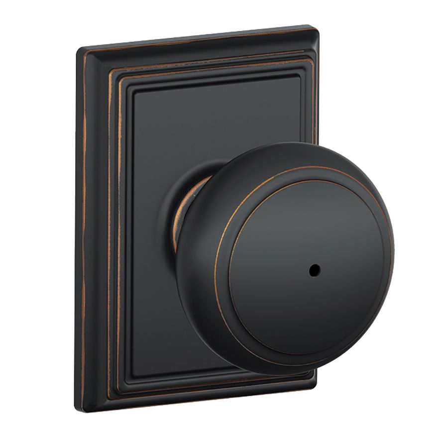 Schlage F Decorative Addison Collections Andover Aged Bronze Round Push On Lock Privacy Door